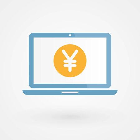 Laptop and Yen Vector