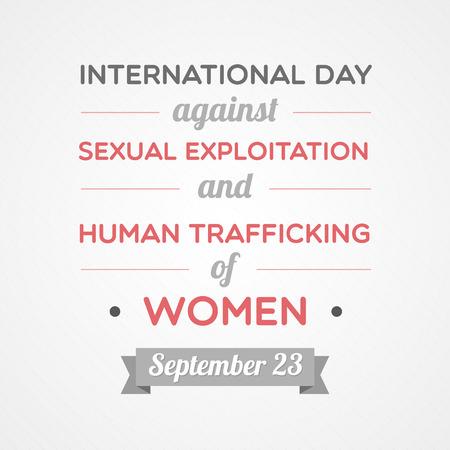 salud sexual: Día Internacional contra la Explotación Sexual y la Trata de Personas de la Mujer Vectores