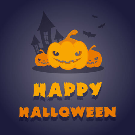 bewitched: Happy Halloween: pumpkins, bewitched house and bats Illustration