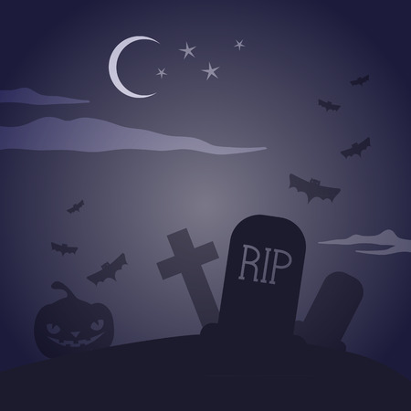 bewitched: Scary cemetery Illustration