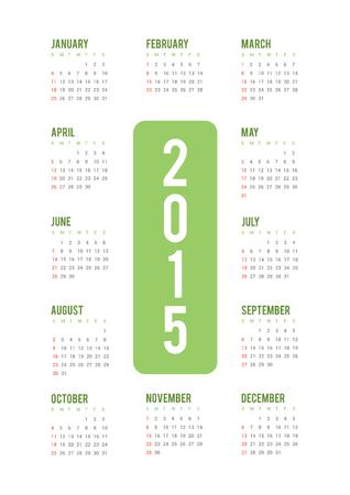 2015 Minimal calendar Vector