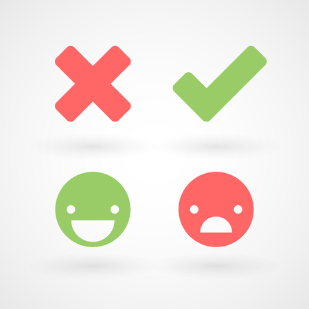 Wrong and right check mark icons. Happy and unhappy smileys