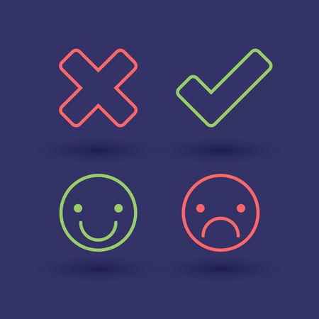 smileys: Wrong and right check mark icons. Happy and unhappy smileys. Thin line style