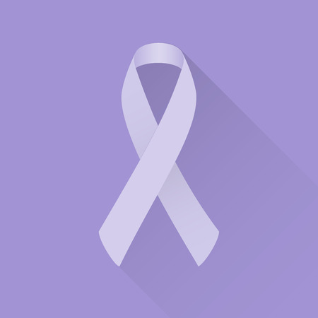 ribbon badge: Lavender awareness ribbon (all kinds of cancer). Flat design