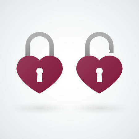 secret love: Closed and opened padlock icons of love Illustration