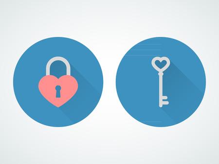 Blocco Cuore e la chiave. Design piatto Archivio Fotografico - 36965405