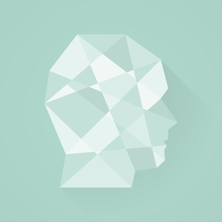 mental disorder: Male head icon. Low poly style. Flat design
