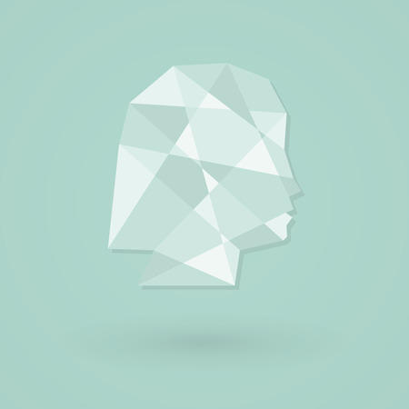 Female head icon. Low poly style Vector