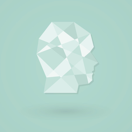 social emotional: Male head icon. Low poly style