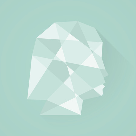 Female head icon. Low poly style. Flat design Vector