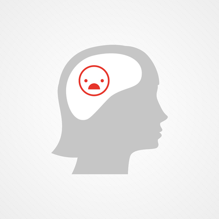 contradiction: Female head and unhappy smiley Illustration