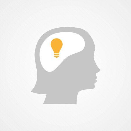 cabeza femenina: Cabeza de mujer y la bombilla Vectores