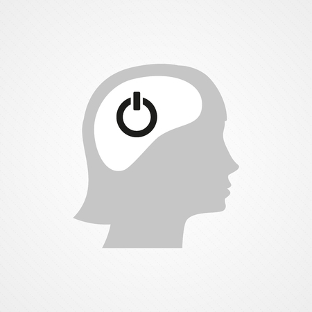 psychiatry: Female head and onoff icon