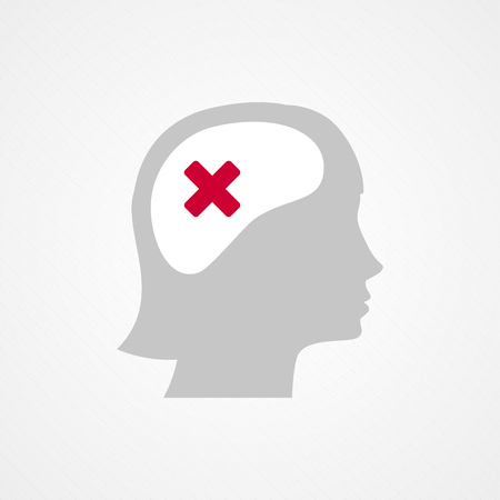 contradiction: Female head and wrong check mark Illustration