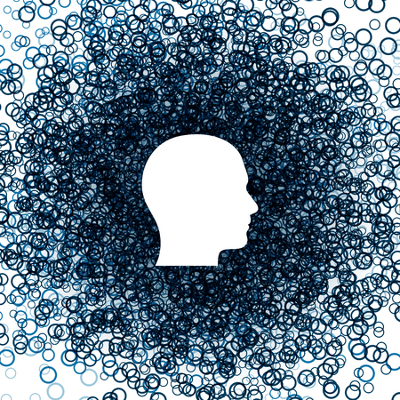 social emotional: Icon male head. Circles background