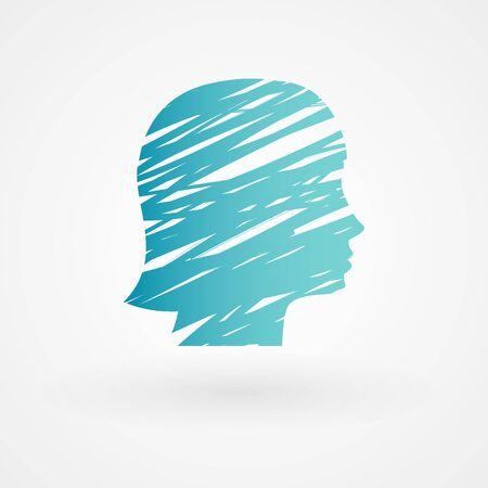 cabeza femenina: Cabeza femenina Scribble Vectores