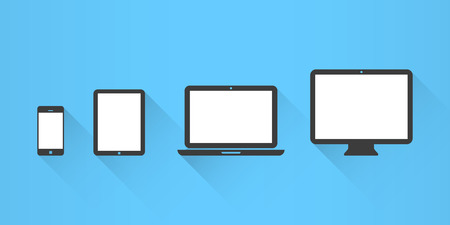 computer screen: Device Icons: smartphone, tablet, laptop and desktop computer. Flat design