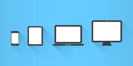 Iconos de dispositivos: teléfonos inteligentes, tabletas, portátiles y ordenadores de sobremesa. Diseño plano Foto de archivo - 38414319
