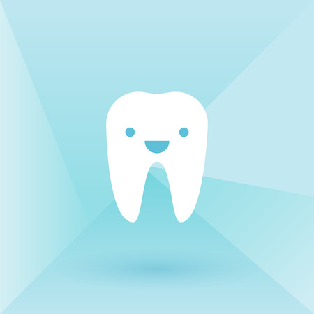 buccal: Happy tooth. Low poly background
