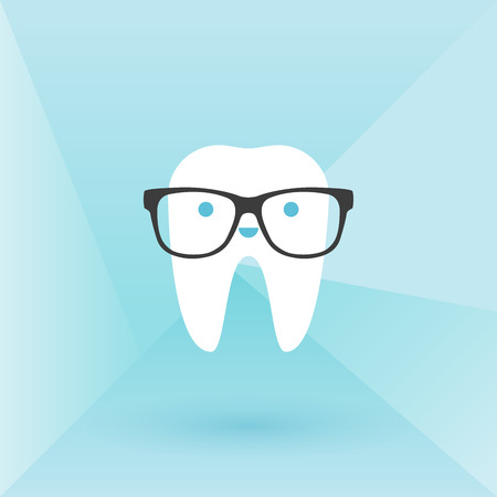 buccal: Hipster tooth with glasses. Low poly background Illustration