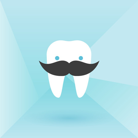 Hipster tooth with mustache. Low poly background