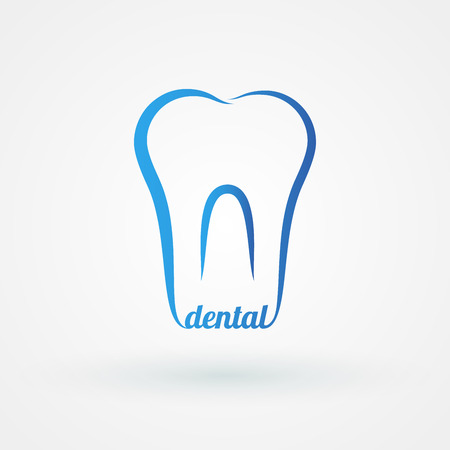 Line icon molar with word dental