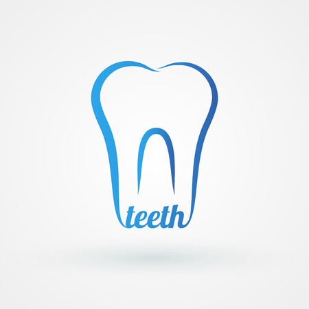 Line icon molar with word teeth