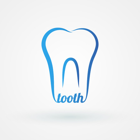 Line icon molar with word tooth