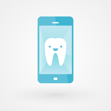 Happy tooth in smartphone Vector