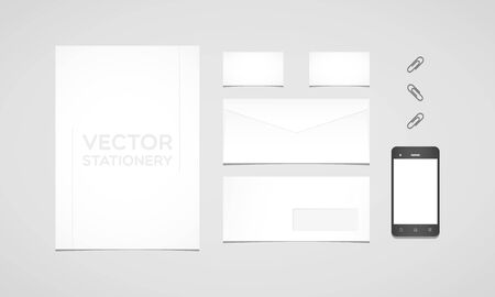 smartphone business: Branding identity template. Letterhead, envelope, business card, smartphone and paperclips. Flat design
