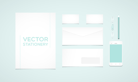 smartphone business: Branding identity template. Letterhead, envelope, business card, smartphone, pencil and paperclips. Flat design Illustration