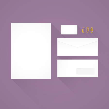 Branding identity template grey background letterhead envelope similar vectors branding identity template purple background letterhead envelope business card and paperclips reheart Images