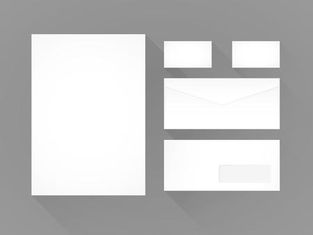 Branding identity template. Grey background. Letterhead, envelope and business card. Flat design Vettoriali