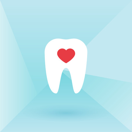 buccal: Tooth with heart. Low poly background