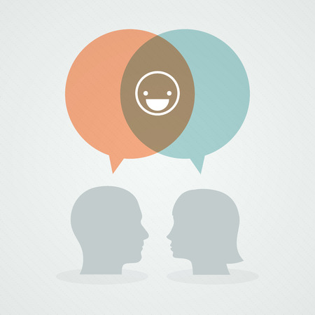 positive thought: Dialog about happiness Illustration