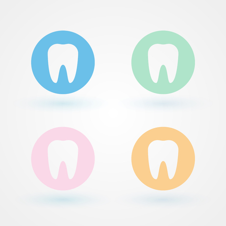 buccal: Dental icons. Several colors Illustration