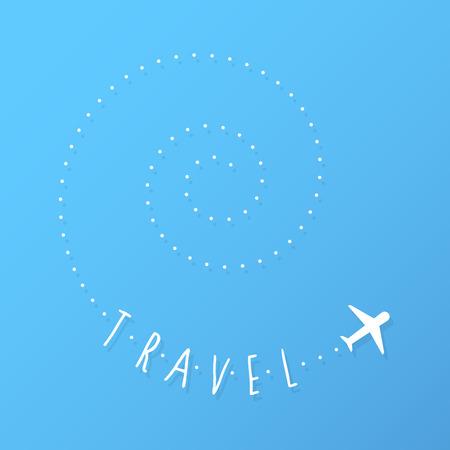 나선형 흔적을 비행하는 비행기 일러스트