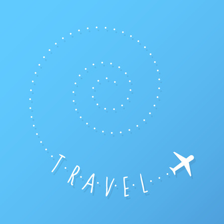 Airplane flying with spiral trail