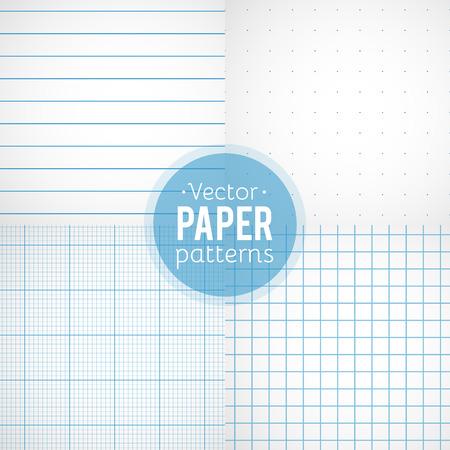 PAPIER A LETTRE: Vector ensemble de motifs de papier. Gouverné, pointillé, millimètre et papiers au carré Illustration
