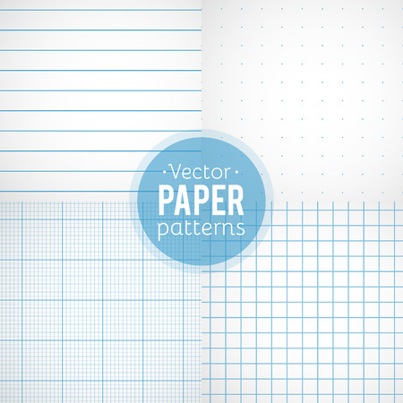 white textured paper: Vector set of paper patterns. Ruled, dotted, millimeter and squared papers Illustration