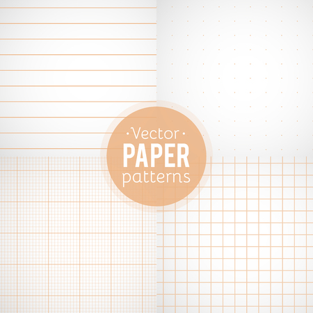 Vector set of paper patterns. Ruled, dotted, millimeter and squared papers  イラスト・ベクター素材