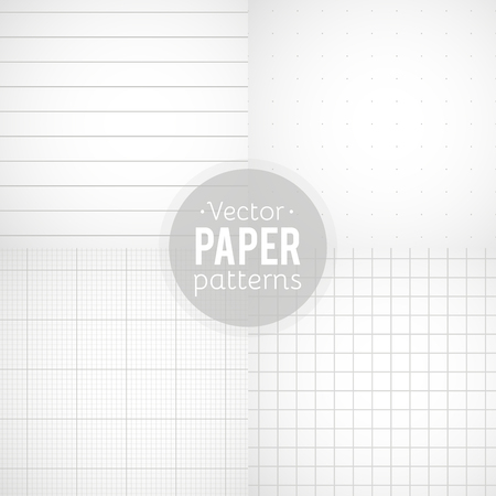 Vector set of paper patterns. Ruled, dotted, millimeter and squared papers Vectores