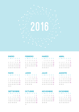 star background: Calendar 2016. Week starts from Monday.