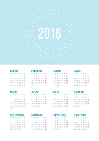 estrella: Calendario 2016. Comienzo de la semana, de lunes. Vectores