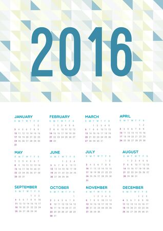 week: Calendar 2016. Week starts from Sunday.