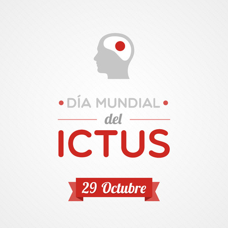 cerebral artery: World Stroke Day in Spanish. Dia mundial del ictus Illustration