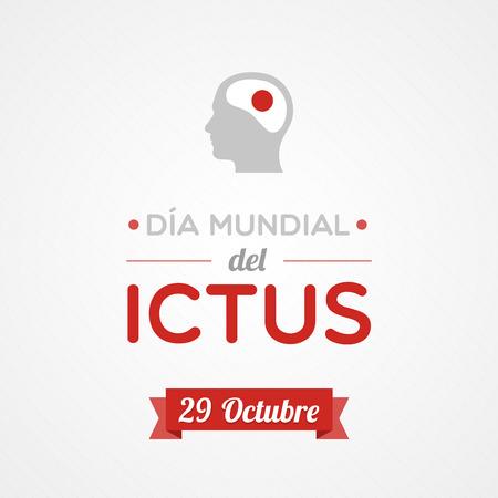 ictus: World Stroke Day in Spanish. Dia mundial del ictus Illustration