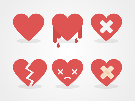 Broken hearts set. Flat design, vector illustration Illustration