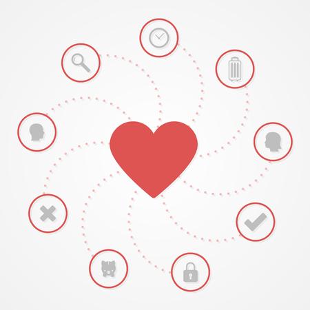Love infographic. Flat design, vector illustration