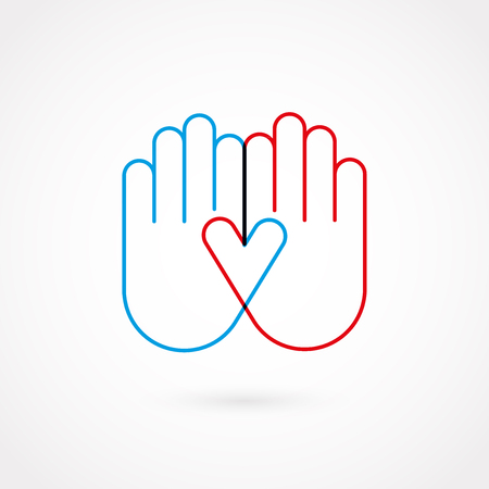 Hand gesture blue and red outline in flat design, vector illustration.